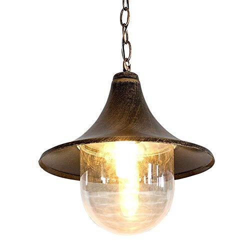 HIGHKAS American Village Farmhouse Vintage Outdoor Waterproof Ceiling Pendant Light Globe Clear Glass Lantern Retro Loft Metal Hanging Lamp ShaE27 Black Barn Porch Chandelier Lighting