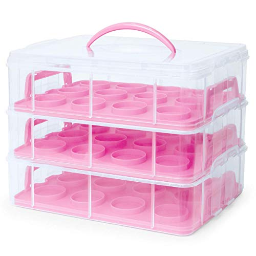 3 Tier 36 Cupcake Holder Carrier Pink Sturdy Durable Heavy Duty Portable Removable Tray Ergonomic Handle for Home Office Bakery Restaurant Cafeteria Countertop Kitchen Brownie Cookies Cake Party Event