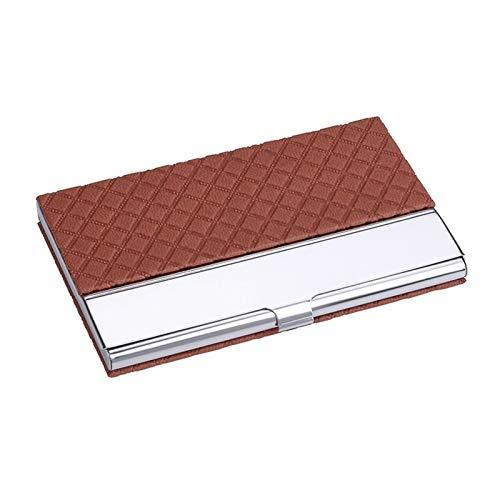Tarjeteros profesional Titular de la tarjeta de visita de cuero para hombres y mujeres, tarjeta de visita de acero inoxidable Caja de tarjeta creativa simple Tarjeteros de Escritorio ( Color : Brown )