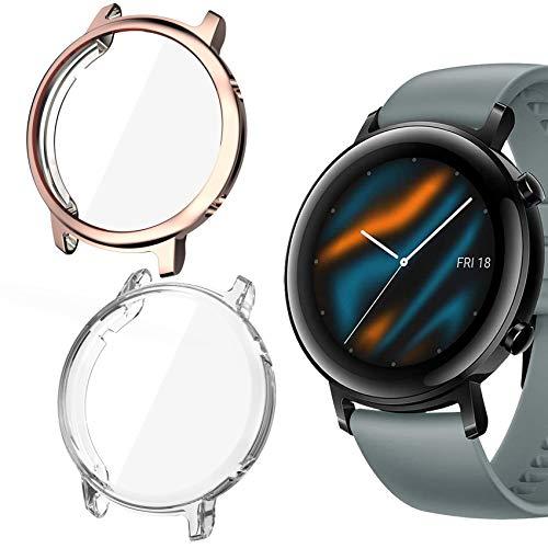 Jvchengxi Hülle Kompatibel mit Huawei Watch GT 2 42mm Schutzhülle Schutzfolie [2-Stück], Weiche Superdünne TPU Hülle Vollschutz Bildschirmschutz Gehäuse für Huawei Watch GT 2 (Klar/Roségold)