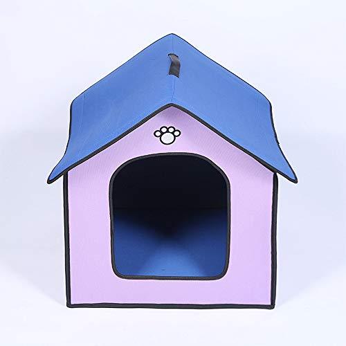 Mittlere Hundehütte Outdoor Wasserdicht Weich Komfortabel Pet House Kausicher Abnehmbar Kleines Hundebett Haustier Schlafmatte Tragbar,Lila,S