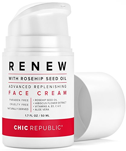 Daily Face Moisturizer with Rosehip Oil | Organic Face Moisturizer | Vitamin C, A and E, Aloe Vera, Hibiscus | For Sensitive, Oily or Dry Skin | Anti Wrinkle Hydrating Face Cream