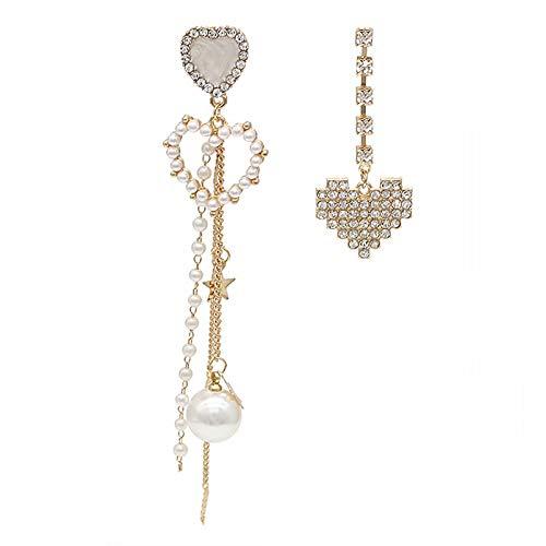 CHENYUXIA Pendientes de plata con perlas asimétricas y diamantes de imitación y borlas