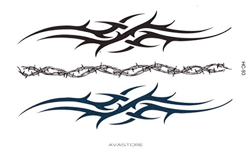 Tatouage Temporaire Homme Bracelet Tribal Tatouage Éphémère Homme Bracelet Tribal Plaquette de 3 Bracelets Tribal 2 Noir 1 Bleu - AVASTORE