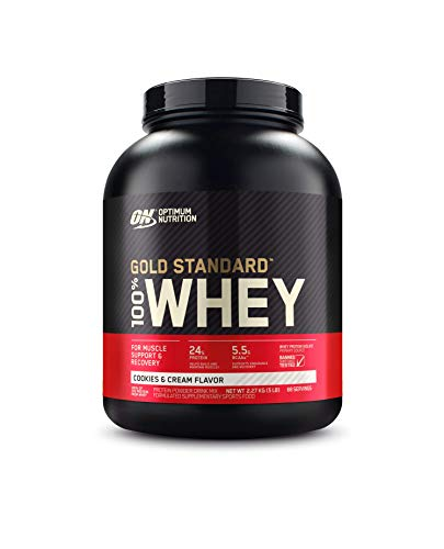 Optimum Nutrition Gold Standard 100% Whey Protein Powder, Cookies and Cream, 5 Pound (Packaging May Vary)