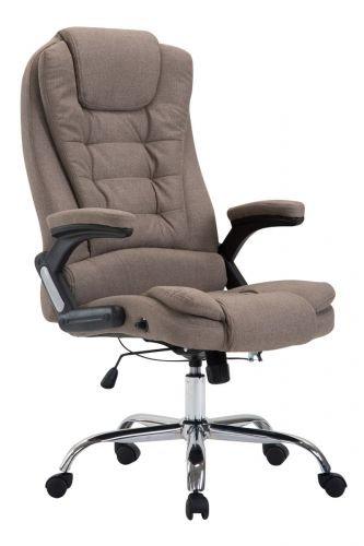 XXL Chefsessel Thor mit Stoffbezug, max. belastbar bis 150 kg, Bürostuhl mit Armlehnen, höhenverstellbar, Drehstuhl mit dickem Polster, Farbe:Taupe