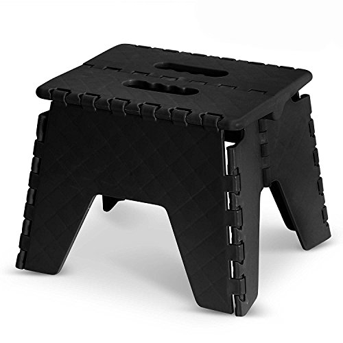 GLOW Heavy Duty Folding Step Stool – Black Strong Compact 9 Inch Plastic Anti Slip Stepping Stool for Kids and Adults with Carry Handle for Home, Kitchen and Workplace