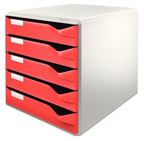 Leitz 52800025 - Cajonera para oficina (5 cajones, 291 x 352 x 291 mm), color rojo y gris