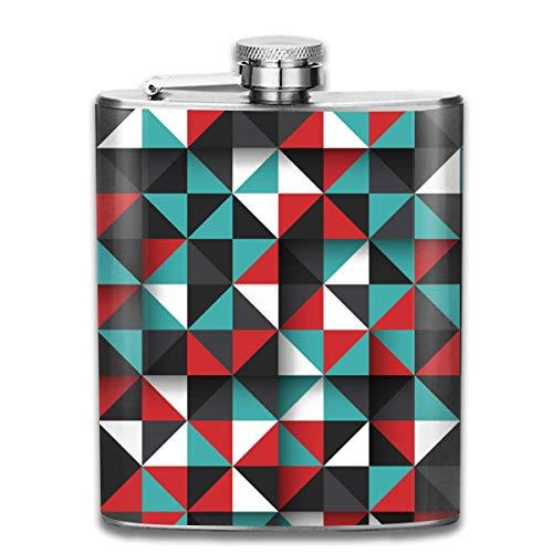Presock Flachmann,It's Genius Geometric 7 Oz Printed Stainless Steel Hip Flask for Drinking Liquor E.g. Whiskey, Rum, Scotch, Vodka Rust Great Gift