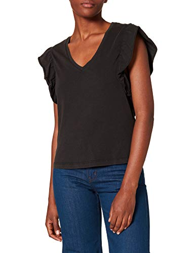 Only ONLLUCILLA Life S/S V-Neck Top JRS Camiseta sin Mangas, Negro, M para Mujer