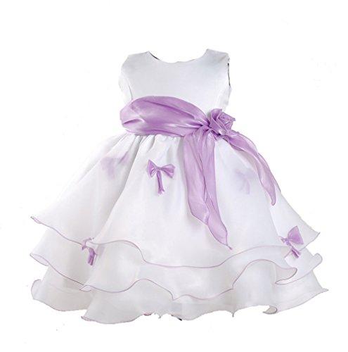 Cinda Mädchen Partykleid Weiß und Lila 68-74(Fabriknummer 2)