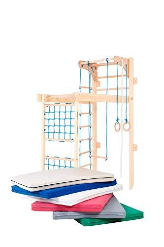 Kidsmont Kombi-Sprossenwand 5-in1 bis 150 KG Abnehmbarr Klappbar Klettergerüst Kletterwand Sport Gym für Kinder Matte Brettrutsche Blau Grau Türkis Grün Wieß