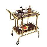 TROLLEOY Servierwagen-Trolley Edelstahl-Home-Bar-Wein-Teewagen mit leisen Rädern, 2-Shelf-Hotel-Servierwagen
