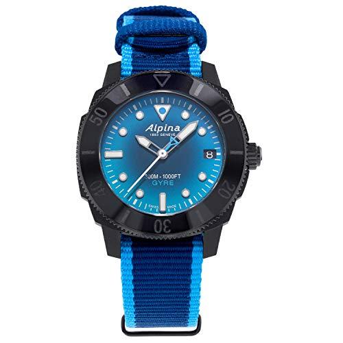Alpina Women's Recycled Plastic Swiss Automatic Sport Watch with Nylon Strap, Blue, 18 (Model: AL-525LNSB3VG6)