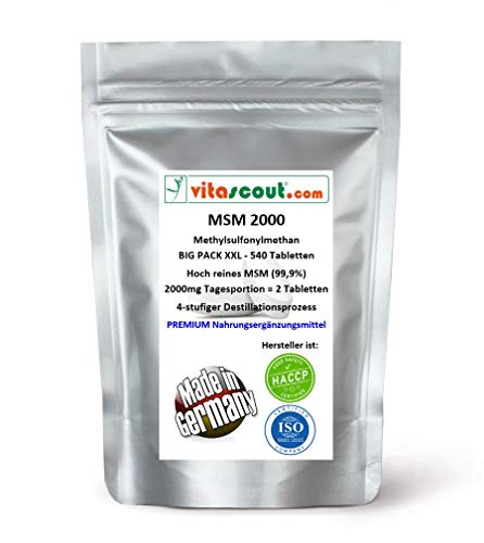 MSM - Methylsulfonylmethan - 540 Tabletten - 2000mg Tagesportion (=2 Tabletten) - 99,9{d89ef7cb43443113aa24038a682f6b002867129eb044d7c663111008c11e8e04} Reinheit - LABORGEPRÜFT - MADE IN GERMANY - hochdosiert