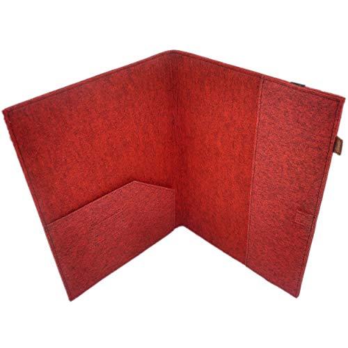 Venetto DIN A5 Organizer Hefteinband Einband Tasche aus Filz Filztasche Filzhülle Schutzhülle, 7.0 Zoll, Für Samsung, iPad, Huawei, eBook Reader wie Kobo, Tolino, Kindle A5 Format (Rot melange)