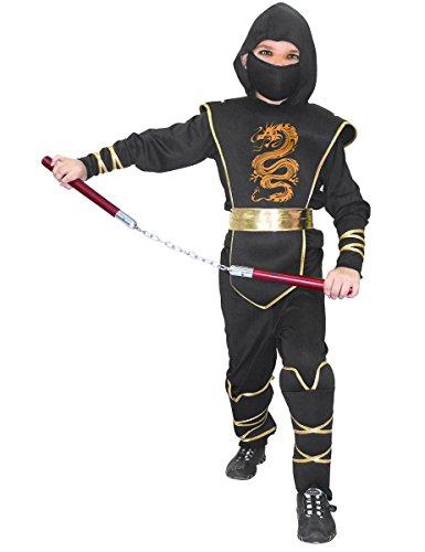 Generique Heldenhaftes Ninja-Krieger Kostüm für Kinder Schwarz-Gold 104/116 (4-6 Jahre)
