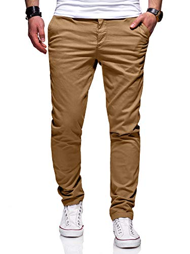 behype. Herren Basic Chino Jeans-Hose Stretch Regular Slim-Fit 80-0310,Beige,36W / 32L