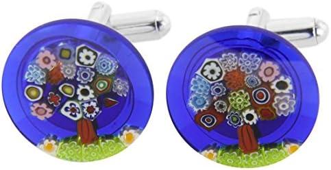 GlassOfVenice Millefiori - Gemelos de cristal de Murano, diseño de árbol de la vida