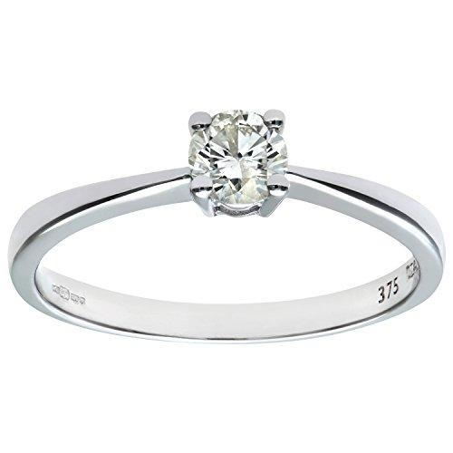 Naava Women's 9ct White Gold Engagement Ring, IJ/I Certified Diamond, Round Brilliant, 0.33ct
