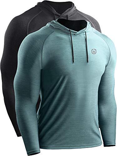 Neleus Men's 2 Pack Dry Fit Running Shirt Long Sleeve Workout Athletic Shirts with Hoods,5071 Dark Grey,Light Green,US XL,EU 2XL