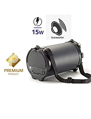 """Manta SPK204FM PIPE 2.1 HiFi Bluetooth Speaker with 4""""subwoofer, Portable Outdoor Wireless Speaker with Carrying Strap, FM-Radio, MicroSD, USB, AUX, Black by MANTA"""