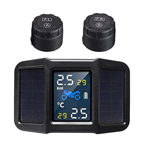 Monitor de presión de neumáticos KKmoonpara motocicleta, fuente de alimentación solar y USB dual, TPMS, detector de presión de neumáticos, resistente al agua, con 2 sensores externos inalámbricos