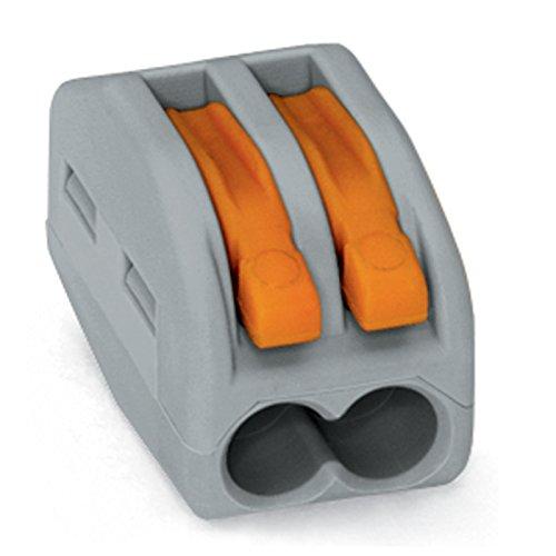 WAGO 222-412 2x0,08-2,5mm² grau Verbindungsklemmen mit Betätigungshebel, 50 Stück
