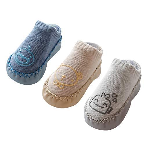 Happy Cherry - Calcetines Bebés Recien Nacido Antideslizantes Zapatillas Primeros Pasos con Suela Antideslizantes Algodón Suave - 13cm/ 12-18 Meses