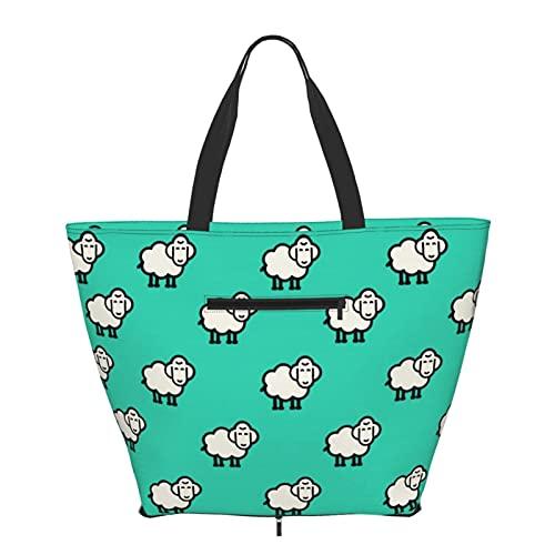 Bolso de hombro con patrón de cordero plegable para mujeres y niñas, grande, reutilizable, gran bolsa de viaje, bolsas de hombro de moda