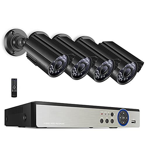 5MP Sistema De Cámara De Seguridad For El Hogar,8ch Expansible DVR Con 4 PIEZAS Cámaras Impermeables,Visión Nocturna,Alerta De Movimiento,7x24 Monitoreo En Tiempo Real ( Size : Standard Kit+1TB HDD )