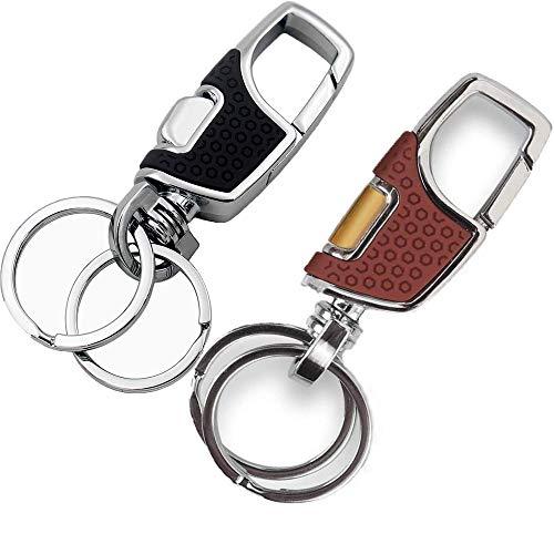 Robuster Schlüsselanhänger Autoschlüsselanhänger mit 2 Metall-Schlüsselringen, Karabiner, Quick Release abnehmbare Schlüsselanhänger einfache Starke Karabiner Form Schlüsselanhänger Ring