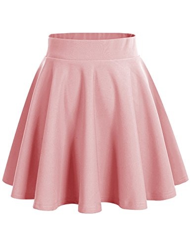 DRESSTELLS Falda Mujer Mini Corto Elástica Plisada Básica Multifuncional Blush M