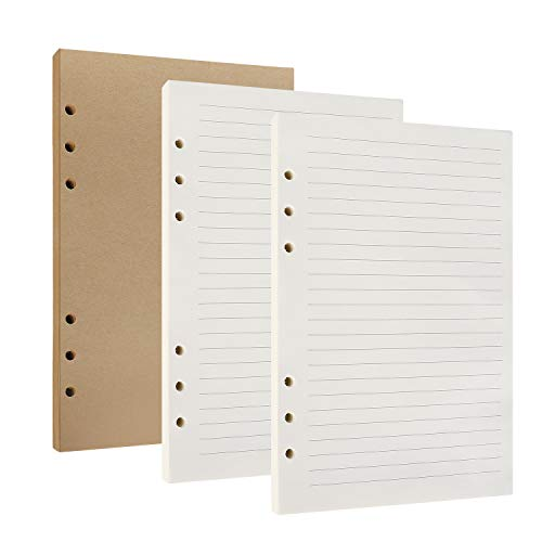 Papel de Recambio A5 con 6 Anillas, 80 Hojas/160 páginas para Agenda Filofax Bullet, 2 Paquetes Páginas Blancas Forradas y 1 Paquete Páginas Kraft en Blanco Papel de cuadros