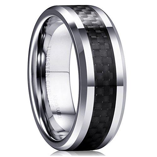 King Will GENTLEMAN Men's Black Tungsten Carbide 8mm Carbon Fiber Inlay Comfort Fit Wedding Band Ring 10.5