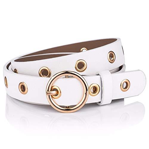 SBORT Cintura Casual Ideale per jeans Retro fibbia tonda femmina semplice fibbia con fibbia ad ardiglione 110 cm bianca