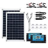 YSNUK Panel Solar de 100W/200W, células solares, Controlador de 30/100A para Coche, yate, batería, Cargador de Bote, Suministro de batería al Aire Libre (Color : 200W 30A Solar Set)