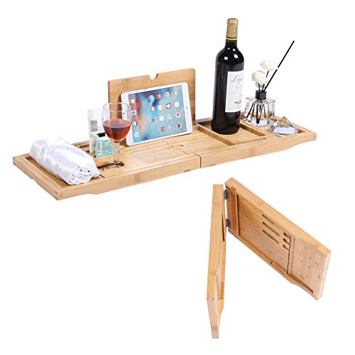 Bamboo Bathtub Tray Expandable Foldable Bamboo Tub Tray, for Romantic Luxury Bath with Book Holder Book Stand, Candle, Wine, Glass Cup, Towel Holder, Adjustable Edge Unique Gift (29.5