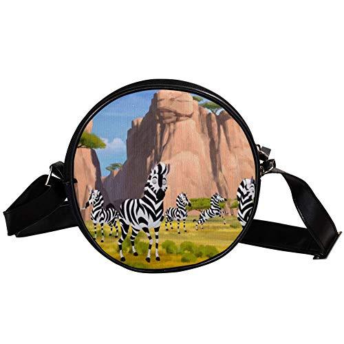 Bennigiry Damen Umhängetasche Zebra Herde Rund Umhängetasche Top Handtasche