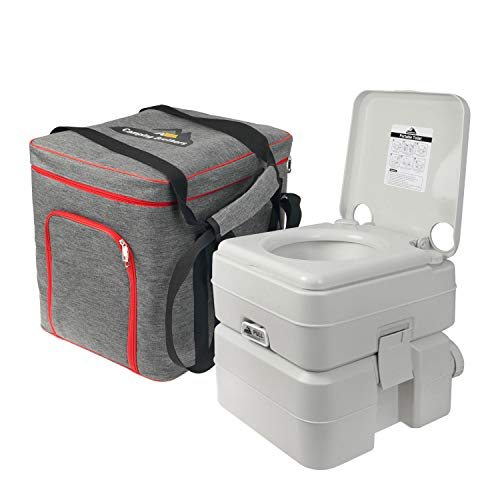 Camping Brothers Outdoor Portable Toilet with Carry Bag (5.3 Gallons Capacity Waste Tank) - Camping Porta Potty Supports 286 LBS and Up to 50 Flushes - Detachable Tanks for Easy Cleaning & Carrying