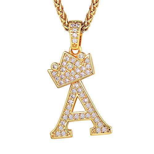Richsteel Iniciales Oro Colgantes Letra a con circon cubicas Collares Letras Hombres Mujeres Regalo