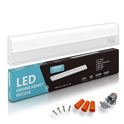 """Hardwired LED Under Cabinet Task Lighting - 12 Watt, 18"""", Dimmable, CRI>90, 5000K (Day Light), Wide Body, Long Lasting Metal Base with Frost Lens"""