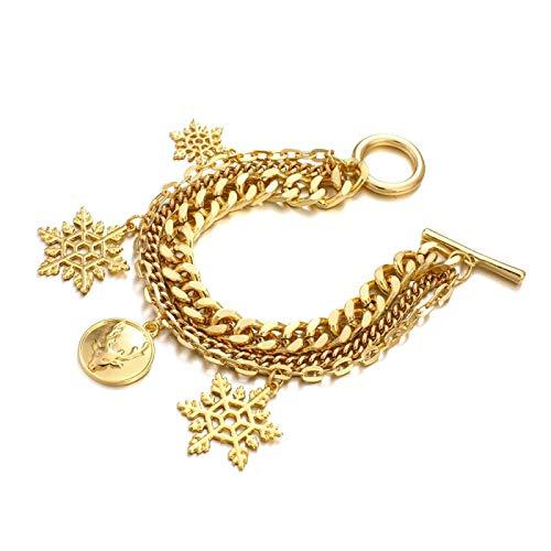 Pulsera de Navidad de color oro de la cadena de la pulsera de la personalidad multicapa de los encantos de las pulseras para las mujeres