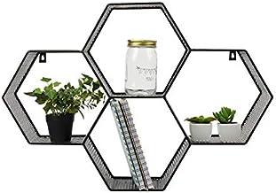 Dresz metalen wandrek met 4 drijvende planken, wanddecoratie, organizer, zeshoekig, zwart, 62 x 15 x 43,5 cm