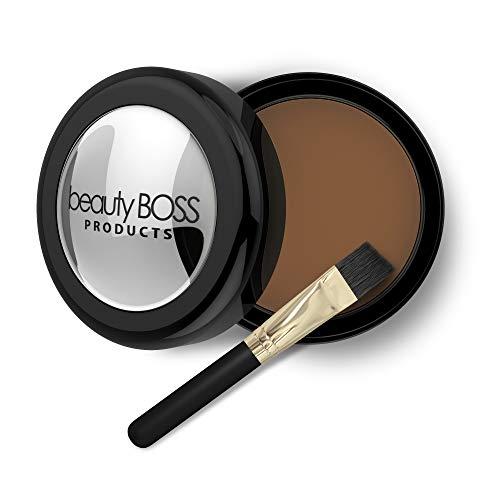 BeautyBoss Eyebrow Powder Medium Brown, Filler Makeup for Fuller Eyebrows, Cruelty Free + Vegan, Natural Color Brow Shadow Kit with Small Eyebrow Brush