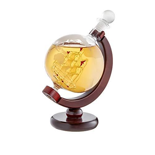 AMAVEL Whiskykaraffe Globus mit Segelschiff im Inneren, Mit luftdichtem Verschluss, Füllmenge: 650 ml