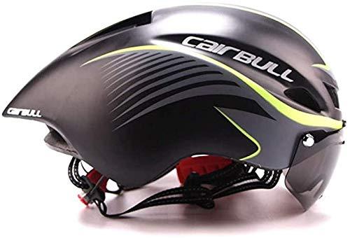 Fashion Fietshelmen met bril, racefiets sport helm rijden Men Racing In Mould Time Trial Helmet,Gray
