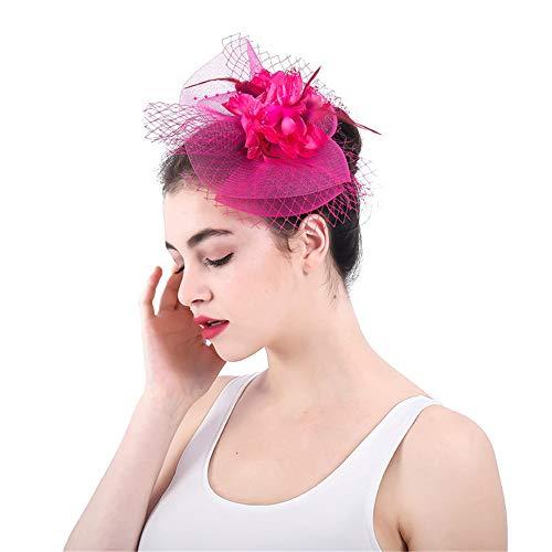 LTH-GD Gorra de Invierno y Sombrero Elegante Flor Rosa Flor Roja Malla Neto Velo Pluma Fascinator Pinza de Pelo Sombrero Cóctel de la Boda