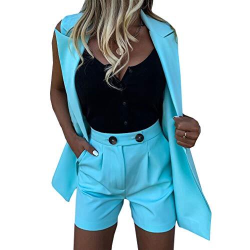Yying Arbeit OL Anzug Blazer+Shorts Anzüge Set Umlegekragen Weste Und Shorts Frauen Chic Anzug Büro Sets 2Stück Outfits