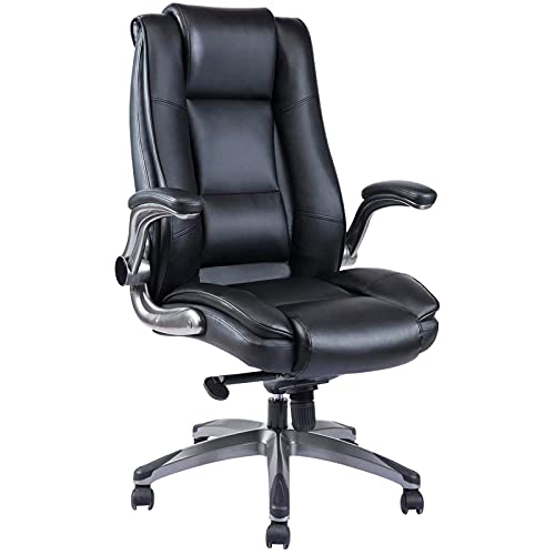 REFICCER Office Computer Desk Chairs Comfortable Chaise Bureau- Ergonomic High Back Home Leather Work Swivel Chair with Flip-up Arms, Adjustable Reclining Angle, Lumbar Support and Easy to Assemble